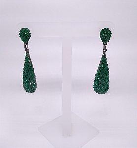 Brinco Banho Prata Gota e Cristal Verde Esmeralda