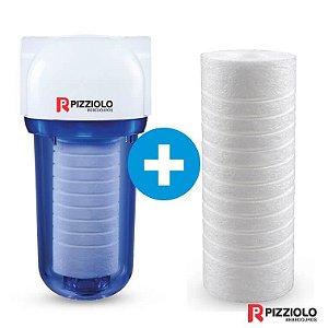 "Kit Filtro Purificador De Água 200 TR + Elemento Filtrante Ranhurado 7"" Pizziolo"