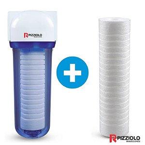 "Kit Filtro Purificador De Água 230 TR  + Elemento Filtrante Ranhurado 9"" Pizziolo"