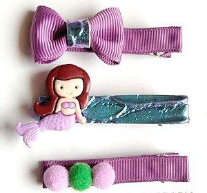 Hair Clip Kits com 3 peças sereia roxa