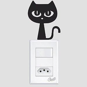 adesivo de parede interruptor gato preto