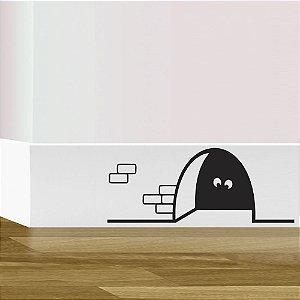 adesivo da parede rodapé rato curioso