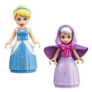 Kit 2 Bonecas Cinderella Fada Madrinha Disney Bloco de Montar Compativel
