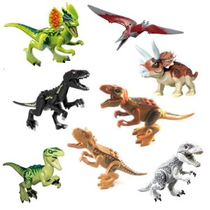 Kit 8 Dinossauros Jurassic World Bloco de Montar