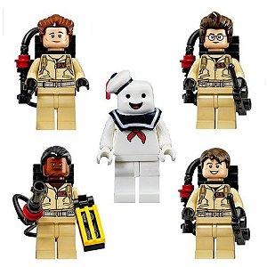 Bloco de Montar Ghostbusters Caça Fantasma Kit 5 Bonecos