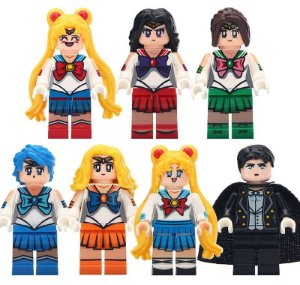 Bloco de Montar Sailor Moon Venus Mars Jupiter Mercurio Tuxedo Set 7 Bonecos