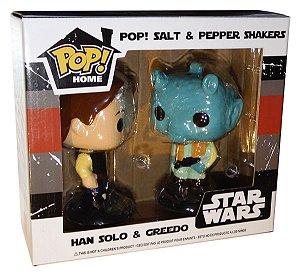 Funko Pop Home Salt e Pepper Shakers Saleiro e Pimenteiro Han Solo e Greedo - Star Wars Smugglers Bounty