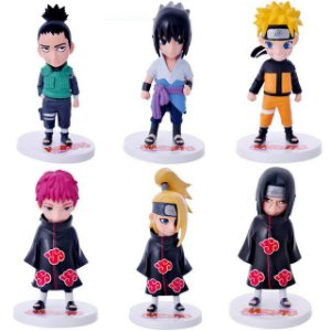 Naruto Uzumaki Itachi Sasuke Gaara Deidara Set c/ 6 Action Figures
