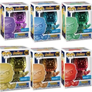 Funko Pop Marvel Avengers Infinity War Thanos Cromado Set c/ 6 Exclusivo #289