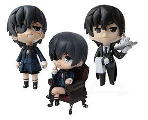Set c/ 3 Miniaturas Black Butler Kuroshitsuji Ciel Mordomo 9cm PVC
