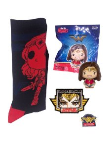 Pint Size + Meias + Pin + Patch Mulher Maravilha Dc Legion Of Collectors Funko