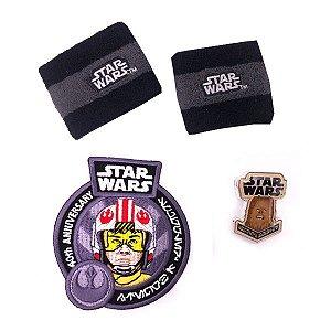 Funko Pin Chewbacca + Patch + Munhequeiras Star Wars 40th Smugglers Bounty
