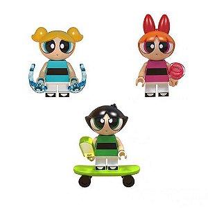 Kit 3 Bonecas Meninas Super Poderosas Cartoon Bloco De Montar Compativel