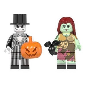 Kit 2 Bonecos Jack Skellington e Sally Bloco De Montar