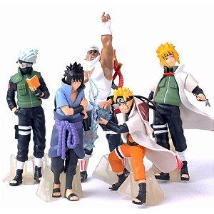 Action Figure Naruto c/ 5 Bonecos Naruto Itachi Sasuke Kakashi Minato Killerbee