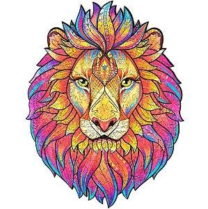 Quebra Cabeça de Madeira Irregular Leão A4