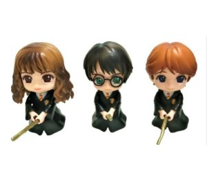 Kit 3 Action Figures Qposket Harry Potter Hermione Ron On Broom