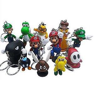 Chaveiros Super Mario Bros Luigi Yoshi Princesa Koopa Kit c/ 12