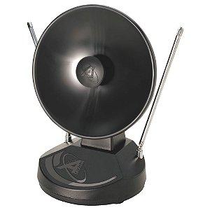 Antena Castelo Interna Mini Parabólica M1018 VHF, UHF, FM e Digital