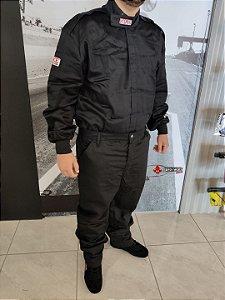 Vestuário Anti-Chama G-Force (Casaco + Calça) Preto (GF125) - Tamanho GG