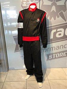 Vestuário Anti-chama Pro Race (Macacão) Preto com detalhes Vermelho