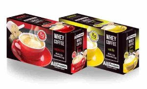 Whey Coffe - Café proteico 1 cappuccino e 1 vanilla 15g de proteina de whey protein com BCAA e Glutamina - All Protein 25 unidades de 25g - 625g