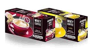 Whey Coffe - Café proteico 1 mocaccino e 1 vanilla 15g de proteina de whey protein com BCAA e Glutamina - All Protein 25 unidades de 25g - 625g