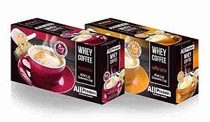Whey Coffe - Café proteico 1 mocaccino e 1 caffe latte 15g de proteina de whey protein com BCAA e Glutamina - All Protein 25 unidades de 25g - 625g