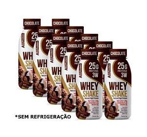 Fardo com 10 Unidades de 35g de Whey Shake - Shake proteico CHOCOLATE 25g de proteína de whey protein com BCAA e Glutamina por dose - All Protein