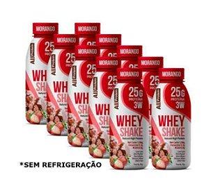 Fardo com 10 Unidades de 35g de Whey Shake - Shake proteico MORANGO 25g de proteína de whey protein com BCAA e Glutamina por dose - All Protein