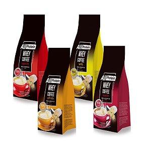 Pague 3 e Leve 4 Pacotes de 300g de Whey Coffee um de cada Sabor All Protein - 1200g
