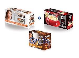KIT - 1 caixa de Whey Coffee CAPPUCCINO 625g + 1 Caixa de Whey Cookie de CACAU 320g - GRÁTIS Caixa whey cake CHOCOLATE 360g