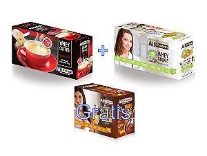 COMBO - 1 caixa de Whey Coffee CAPPUCCINO 625g + 1 Caixa de Whey Cookie de COCO 320g - GRÁTIS Caixa whey cake CHOCOLATE 360g