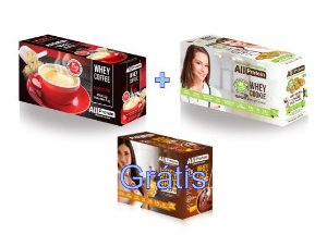 KIT - 1 caixa de Whey Coffee CAPPUCCINO 625g + 1 Caixa de Whey Cookie de COCO 320g - GRÁTIS Caixa whey cake CHOCOLATE 360g