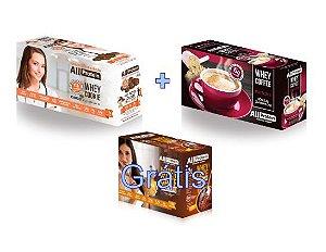 KIT - 1 caixa de Whey Coffee MOCACCINO 625g + 1 Caixa de Whey Cookie de CACAU 320g - GRÁTIS Caixa whey cake CHOCOLATE 360g