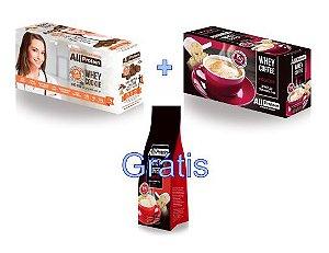 KIT - 1 caixa de Whey Coffee MOCACCINO 625g + 1 Caixa de Whey Cookie de CACAU 320g - GRÁTIS Pacote whey coffee CAPPUCCINO 300g