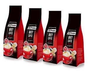 4 Pacotes de Whey Coffee - Café proteico CAPPUCCINO com whey protein - All Protein - 48 doses - 1200g
