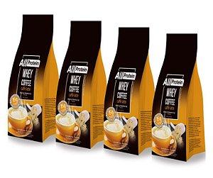 4 Pacotes de Whey Coffee - Café proteico CAFÉ LATTE com whey protein - All Protein - 48 doses - 1200g
