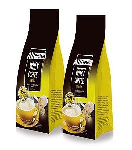 2 Pacotes de Whey Coffee - Café proteico VANILLA com whey protein - All Protein - 24 doses - 600g