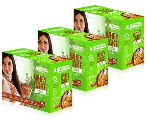 3 Caixas Whey Cake de Coco All Protein - 36 Saches de 30g - 1080g