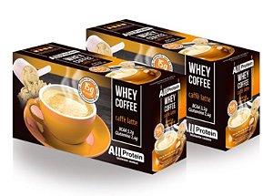 2 Caixas de Whey Coffee - Café proteico CAFÉ LATTE com whey protein - All Protein - 50 doses - 1250g