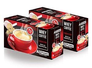 2 Caixas de Whey Coffee Café proteico Cappuccino 1250g (50 doses) - All Protein