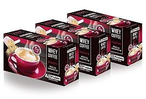 3 Caixas de Whey Coffee Café proteico Mocaccino 1875g (75 doses) - All Protein
