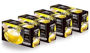 4 Caixas de Whey Coffee - Café proteico VANILLA com whey protein - All Protein - 100 doses - 2500g