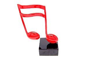 Escultura Decorativa Vermelha Nota Musical Semi Colcheia União