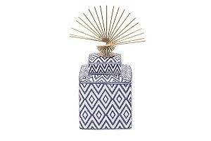 Pote Decorativo Azul e Branco Losango Pequeno