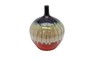 Vaso Decorativo Vermelho E Bege Pequeno