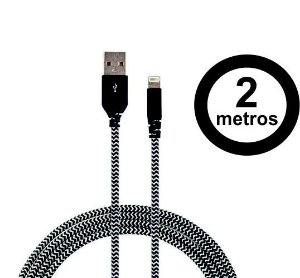 Cabo Lightning Com Certificado Apple De 2m Super Resistente Com Kevlar Zebra - Easy Mobile