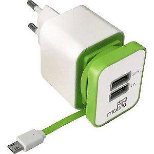 Carregador de Parede Smart USB Turbo 2.1A Com Cabo Micro USB - Branco-Verde