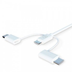 Cabo 3 em 1 WH Lightining, Micro USB e USB-C iWill